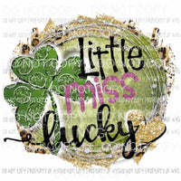 Little miss lucky Sublimation transfers St patricks day patty Heat Transfer