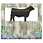 Livestock Show Pen Sign Shiplap Succulents Steer Cow
