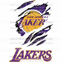 Los Angeles Lakers ripped design Sublimation transfers Heat Transfer