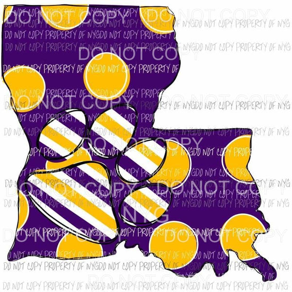 Louisiana State hand Drawn LSU Sublimation transfers Heat Transfer
