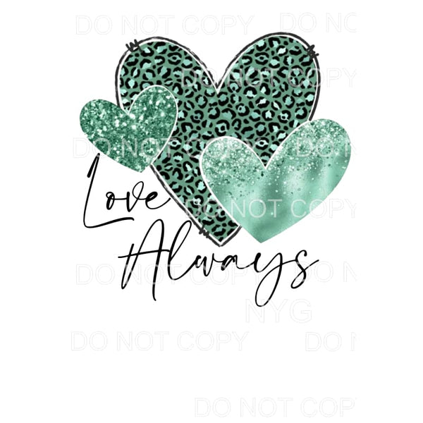 Love Always Green Leopard Glitter Hearts Sublimation