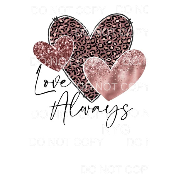 Love Always Pink Leopard Glitter Hearts Sublimation