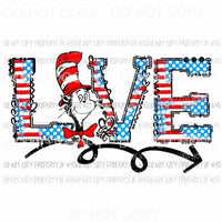 LOVE Cat in the hat Dr Seuss Sublimation transfers Heat Transfer