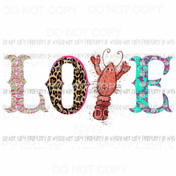 Love Crawfish # 2 Sublimation transfers Heat Transfer