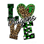 LOVE DRAGONS Green and black custom Sublimation transfers -
