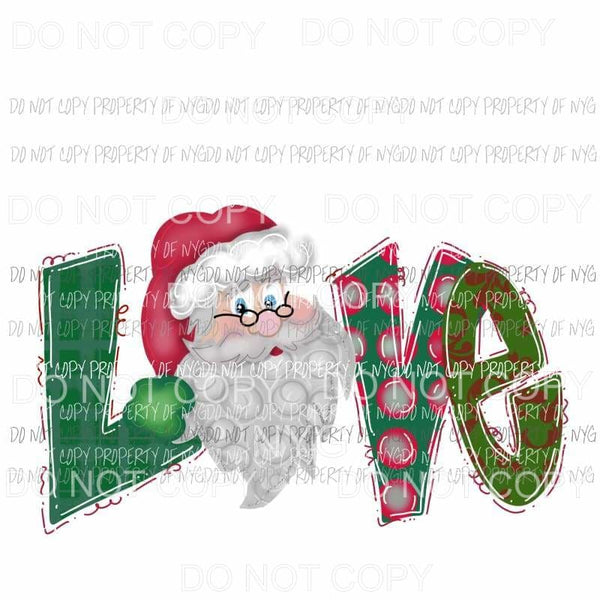 LOVE Green Santa # 1 Sublimation transfers Heat Transfer