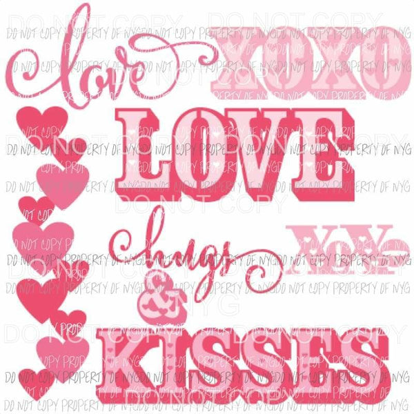 Love hugs and kisses Sublimation transfers Love valentines day heart Heat Transfer