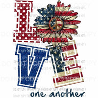 Love one another Daisy Flag 2 Sublimation transfers Heat Transfer