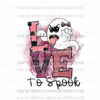 Love To Spook pink scary ghost with bow Sublimation transfers Heat Transfer