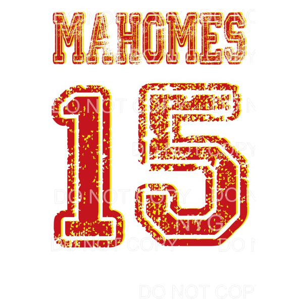 MAHOMES 15 Chiefs KC Sublimation transfers - Heat Transfer