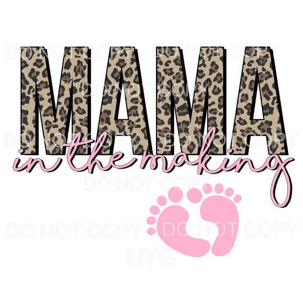Mama In The Making leopard pink Sublimation transfers - Heat