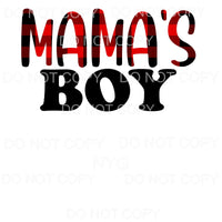 Mama's Boy Red Black Plaid Sublimation transfers - Heat
