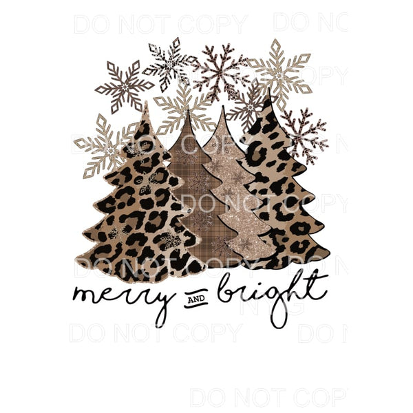Merry and Bright Trees and snowflakes leopard # 4 Christmas