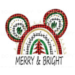 Merry & Bright Mickey Ears Rainbow Plaid Sublimation