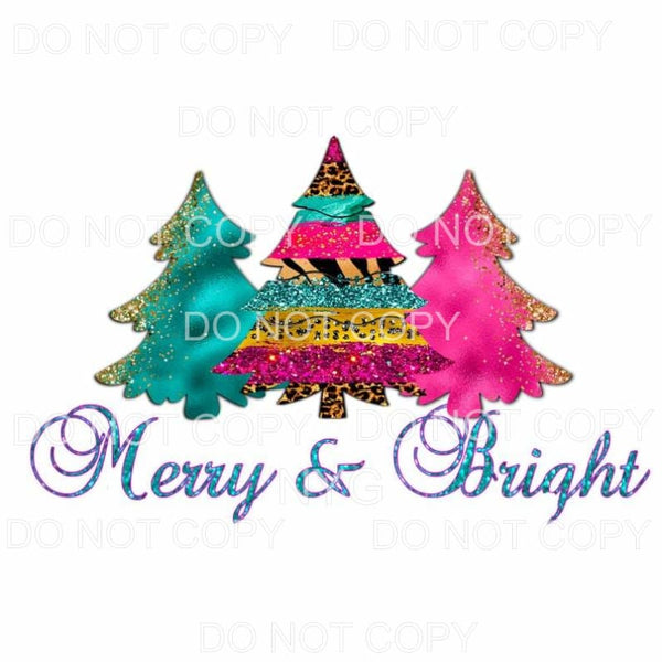 Merry & Bright Turquoise Pink Leopard Tree Trio Sublimation