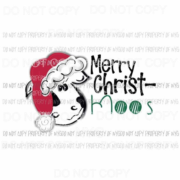 Merry Christ-Moos cow red hat Sublimation transfers Heat Transfer