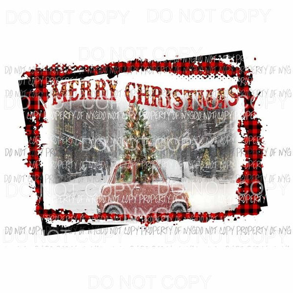 Merry Christmas Car with Christmas tree # 3 Framed Sublimation transfers Heat Transfer