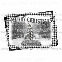 Merry Christmas Car with Christmas tree # 4 Black and white Sublimation transfers Heat Transfer