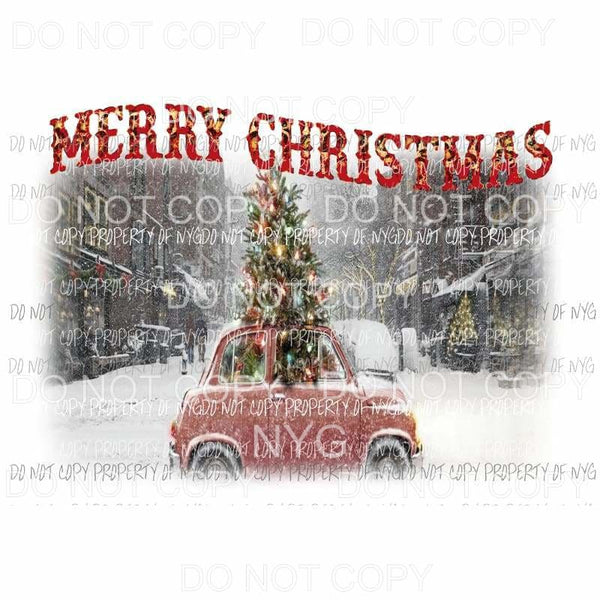 Merry Christmas Car with Christmas tree Sublimation transfers Heat Transfer