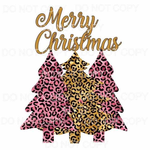 Merry Christmas Pink Leopard Trees Sublimation transfers -