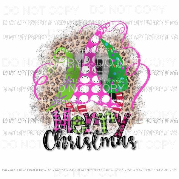 Merry Christmas pink tree trio leopard # 2 Sublimation transfers Heat Transfer