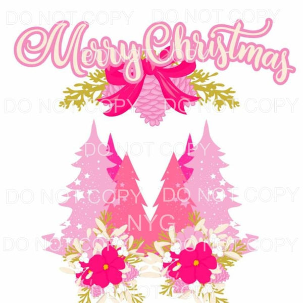 Merry Christmas Pink Trees Sublimation transfers - Heat
