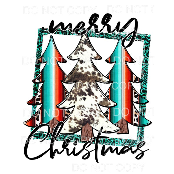 Merry Christmas Serape Trees Framed Sublimation transfers -