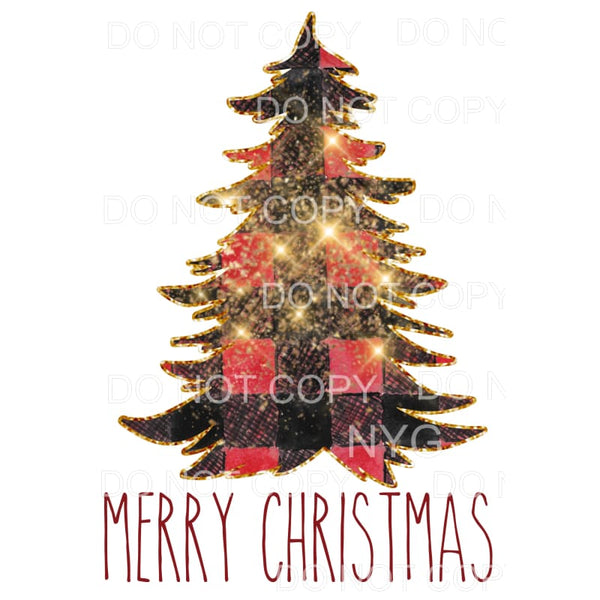 Merry Christmas sparkle plaid tree Sublimation transfers -