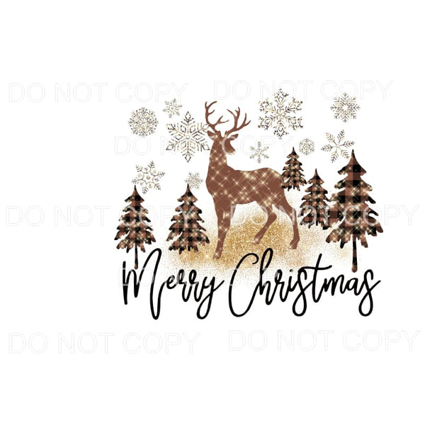 Merry Christmas Trees and snowflakes Deer Christmas