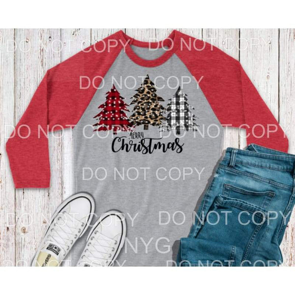 Merry christmas Trees leopard and plaid Full Color Screen