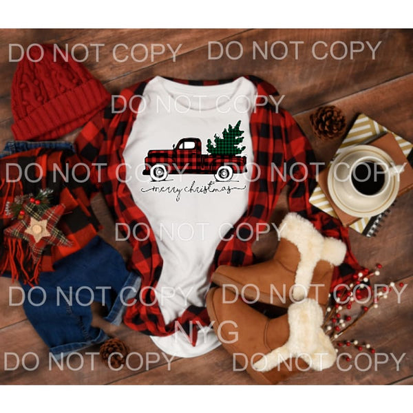 Merry Christmas truck plaid # 102 Screen Print can go on any