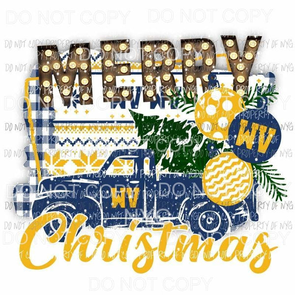 Merry Christmas truck WV West Virginia Wolverines Sublimation transfers Heat Transfer
