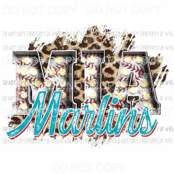 MIA Marlins baseball marquee Miami leopard Sublimation transfers Heat Transfer