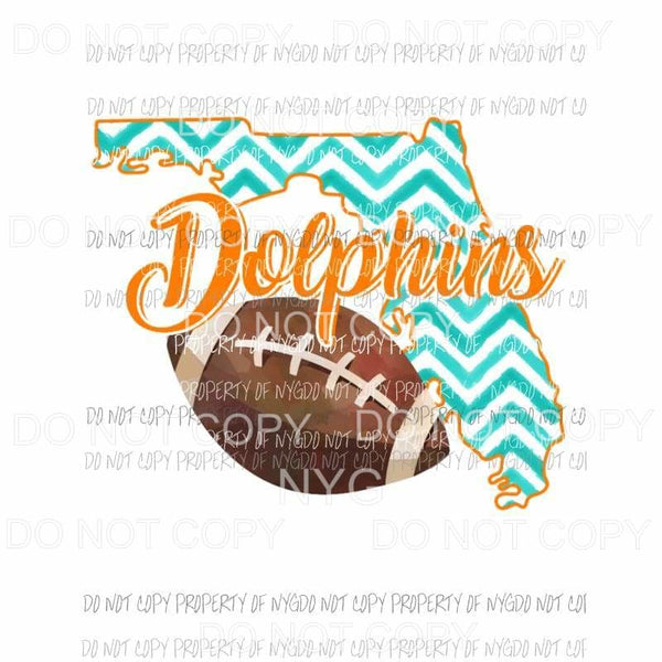 Miami Dolphins football chevron state Sublimation transfers Heat Transfer
