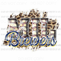 MIL Brewers baseball marquee Milwaukee leopard Sublimation transfers Heat Transfer