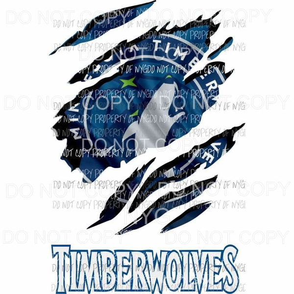 Minnesota Timberwolves ripped design Sublimation transfers Heat Transfer