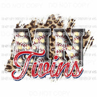 MN Twins baseball marquee Minnesota leopard Sublimation transfers Heat Transfer