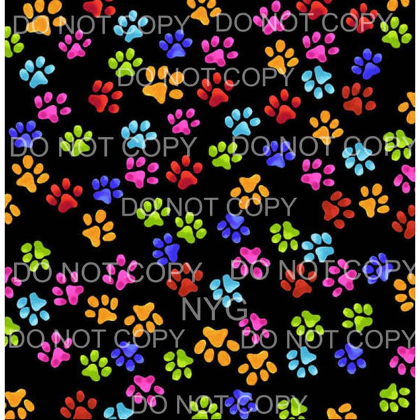 Multi Color Paw Prints Sheet Sublimation transfers - Heat