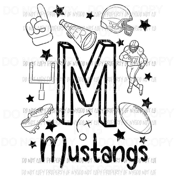 Mustangs football spirit doodle Sublimation transfers Heat Transfer