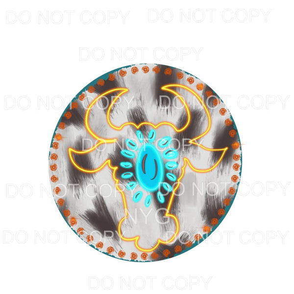 Neon Bullhead Turquoise Gem Cowhide Circle Sublimation