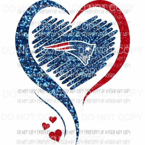 New England Patriots heart red blue glitter Sublimation transfers Heat Transfer
