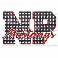 NP Mustangs school letter red Sublimation transfers Heat Transfer