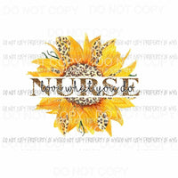 Nurse Love What You Do leopard sunflower Sublimation transfers Heat Transfer