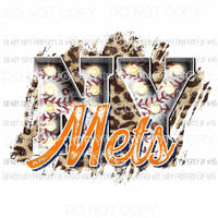NY Mets baseball marquee New York leopard Sublimation transfers Heat Transfer