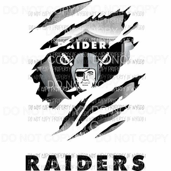 Oakland Raiders ripped design Sublimation transfers Heat Transfer