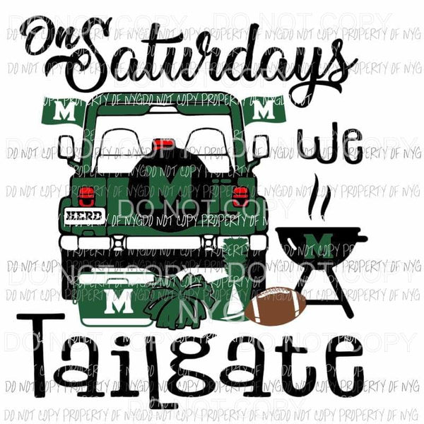 On Saturdays We Tailgate football Marshall Bison West Virginia Jeep Sublimation transfers Heat Transfer
