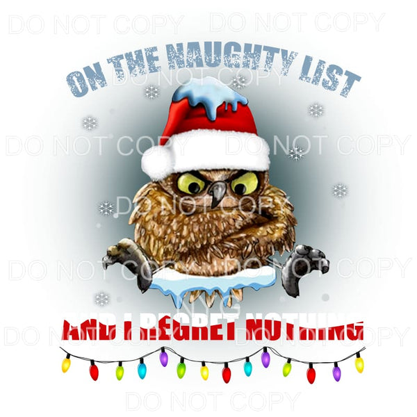 On The Naughty List Owl Santa Hat Lights Sublimation