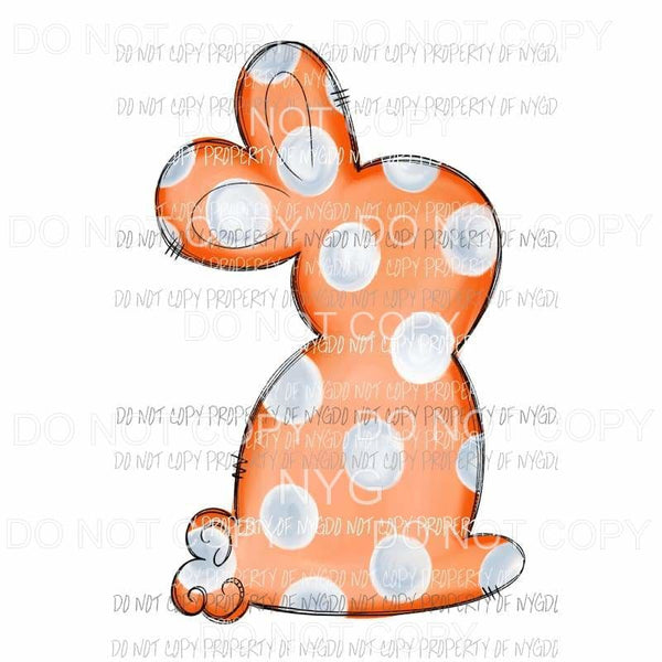 Orange Polka Dot Bunny Sublimation transfers Heat Transfer