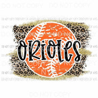 Orioles baseball leopard Sublimation transfers Heat Transfer