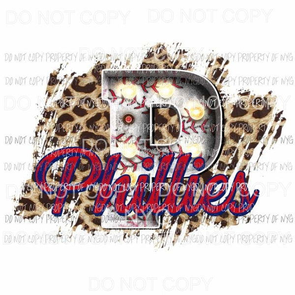 P Phillies baseball marquee Philadelphia leopard Sublimation transfers Heat Transfer